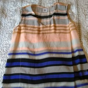 Cabi stripped sleeveless dress blouse top sheer